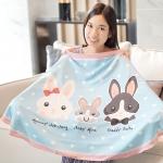 ผ้าคลุมให้นม สั่งทำใส่ชือ ลาย Rabbit Family - Blue