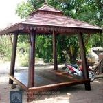 ศาลาบาหลี ศาลาไม้ เสากลมและเอียง หลังคาสองชั้น ไม้เนื้อแข็งรวม ศาลาไม้แต่งบ้าน แต่งสวน