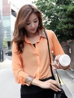 เสื้อเชิ้ตทำงานสีส้ม แขนยาว ผ้าชีฟอง คอปกประดับเลื่อม สวยๆเก๋ๆ