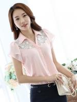 เสื้อเชิ้ตทำงานผู้หญิงสีชมพู แขนสั้น หน้าอกผ้าลูกไม้ แขนระบาย น่ารัก 5-0084-ชมพู