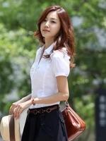 เสื้อเชิ้ตทำงานผู้หญิงสีขาว แขนสั้น ไหล่แต่งระบาย คอปก กระดุมหน้า น่ารัก