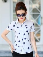 เสื้อเชิ้ตทำงานผู้หญิงสีขาว ลายดาวสีดำ แขนสั้น คอปก กระดุมหน้า แนวน่ารัก 5-0081-ดาว