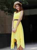 ชุดเดรสยาวสีเหลือง ผ้าชีฟอง เอวยืด คอกลม แขนกุด กระโปรงบาน หน้าสั้นหลังยาว