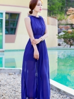 ชุดเดรสยาวสีน้ำเงิน ผ้าชีฟอง คอเต่า เอวยืด จับจีบ สวยหรู