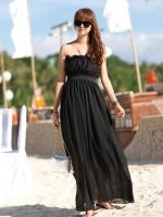 ชุดใส่ไปเที่ยวทะเลสีดำ ชุดเดรสยาว ผ้าชีฟอง เกาะอก เอวยืด สวยเก๋