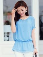 เสื้อแฟชั่นสีฟ้า แขนสั้น คอกลม ผ้าชีฟอง เอวยืด เย็บระบาย สวยน่ารัก