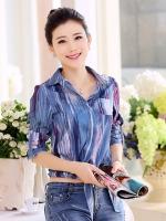 เสื้อเชิ้ตทำงานผู้หญิงสีน้ำเงิน แขนยาว ลายตามยาว แขนยาว คอปก สวยดูดี