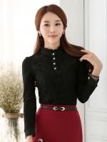 เสื้อเชิ้ตทำงานผู้หญิงสีดำ แขนยาว ผ้าลูกไม้ คอเต๋า แต่งกระดุม ซับในด้วยผ้ากำมหยี่ สวยดูดี 5-0102-ดำ