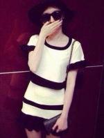 ชุดเซ็ทเสื้อกระโปรงสีขาว เย็บแขนระบาย ลายขวาง น่ารัก