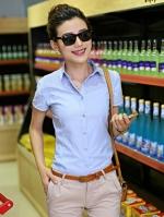 เสื้อเชิ้ตทำงานผู้หญิงสีฟ้า แขนสั้น หน้าอกฉลุ คอปก กระดุมหน้า เอวเข้ารูป น่ารัก 5-0079-ฟ้า