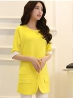 เสื้อทำงานตัวยาวแฟชั่นสีเหลือง แขนสี่ส่วน คอกลม ทรงหลวม