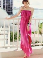 ชุดเดรสยาวสีชมพู เซ็กซี่ เกาะอก แต่งระบาย ผ้าฝ้าย เอวยืด