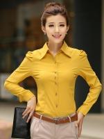 เสื้อเชิ้ตทำงานสีเหลือง แขนยาว คอปก กระดุมหน้า เอวเข้ารูป สวยหรู