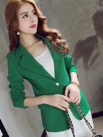 เสื้อสูททำงานสีเขียว แขนยาว คอปก เอวเข้ารูป กระเป๋าข้าง ใส่ทำงาน สวยๆ