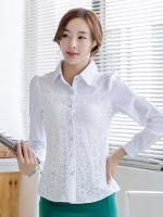 เสื้อเชิ้ตทำงานสีขาว แขนยาว คอปก เอวเข้ารูป ด้านหน้าเย็บตกแต่งผ้าลูกไม้