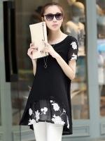 เสื้อแฟชั่นสีดำ ผ้ายืด แขนสั้น พิมพ์ลายดอกไม้ ใส่สบาย