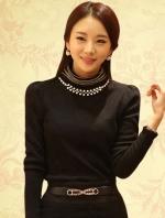 เสื้อทำงานเกาหลีสีดำ ผ้าฝ้าย แขนยาว ผ้านิ่มใส่สบาย