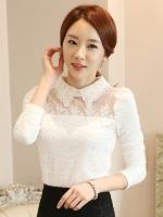 เสื้อทำงานผู้หญิงสีขาว แขนยาว คอ รหัสสินค้า 13-1116-ขาว