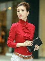 เสื้อเชิ้ตทำงานสีแดง แขนยาว คอเต่า กระดุมหน้า เอวเข้ารูป หน้าอกเย็บระบาย น่ารัก