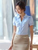 เสื้อเชิ้ตทำงานผู้หญิงสีฟ้า แขนสั้น ไหล่แต่งระบาย คอปก กระดุมหน้า น่ารัก