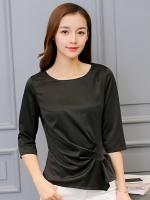 เสื้อทำงานผู้หญิงสีดำ แขนยาว 4-148RX-ดำ