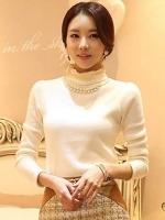 เสื้อทำงานเกาหลีสีขาว ผ้าฝ้าย แขนยาว ผ้านิ่มใส่สบาย
