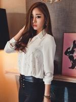 เสื้อเชิ้ตทำงานสีขาว แขนยาว ผ้าชีฟอง คอปก พิมพ์ลายย้อนยุค