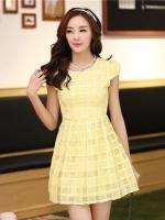 ชุดเดรสสั้นสีเหลือง แขนสั้น ซิปข้าง สวยหวานน่ารัก
