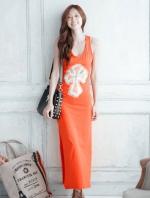 ชุดเดรสยาวสีส้ม แขนกุด คอวี ผ่าข้าง ผ้ายืด