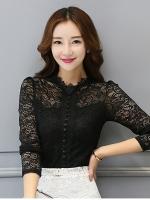 เสื้อทำงานผู้หญิงสีดำ แขนยาว รหัสสินค้า 13-N7106-ดำ