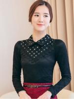 เสื้อทำงานผู้หญิงสีดำ แขนยาว คอวี รหัสสินค้า 13-T6158-ดำ
