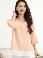 เสื้อทำงานสีส้ม ผ้าชีฟอง แขนสามส่วนเย็บระบาย ช่วงแขนเย็บผ้าลูกไม้ สวยหวาน