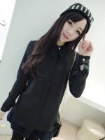 เสื้อเชิ้ตทำงานแฟชั่นสีดำ แขนยาว คอปก กระดุมมุก ผ้าชีฟอง น่ารัก