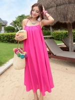 ชุดใส่ไปเที่ยวทะเลยาวสีชมพู สายเดียว ทรงหลวม ใส่สบายๆ
