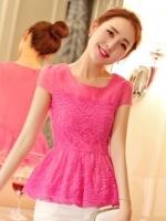 เสื้อทำงานสีชมพู ผ้าลูกไม้ คอกลม แขนสั้น เอวเข้ารูป เย็บระบาย สวยหรู