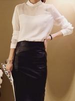 เสื้อทำงานแฟชั่นสีขาว แขนยาว ผ้าไลคร่า โชว์หน้าอก