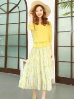 ชุดเดรสยาวสีเหลือง ผ้าชีฟอง แขนสี่ส่วน กระโปรงพิมพ์ลายดอกไม้ เอวยืด สวยน่ารัก