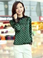 เสื้อทำงานสีเขียว พิมพ์ลายจุด แขนยาว คอปก ใส่กับกระโปรง หรือกางเกง ก็สวยเก๋