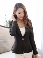 เสื้อสูททำงานสีดำ แขนยาว คอปก เอวเข้ารูป กระดุมหน้า สวยหรู