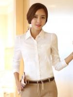 เสื้อเชิ้้ตทำงานสีขาว แขนยาว คอปก กระดุมหน้า เอวเข้ารูป