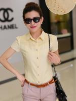 เสื้อเชิ้ตทำงานผู้หญิงสีเหลือง แขนสั้น หน้าอกฉลุ คอปก กระดุมหน้า เอวเข้ารูป น่ารัก 5-0079-เหลือง