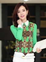เสื้อทำงานสีเขียว แขนยาว ผ้าชีฟอง คอปกสีขาว เย็บเลื่อมประดับ