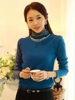 เสื้อทำงานเกาหลีสีฟ้า ผ้าฝ้าย แขนยาว ผ้านิ่มใส่สบาย