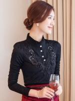เสื้อทำงานผู้หญิงสีดำ แขนยาว รหัสสินค้า 13-T6159-ดำ