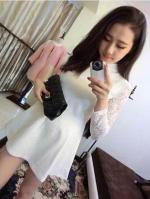 ชุดเดรสสั้น คอจีน แขนยาวผ้าลูกไม้ กระโปรงบาน ชุดเดรสสีขาว
