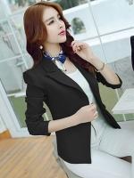 เสื้อสูททำงานสีดำ แขนยาว คอปก ผ้าโพลีเอสเตอร์ ใส่ทำงาน สวยๆ