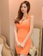 ชุดเดรสสั้น คอกลม แขนกุด โชว์หน้าอก เข้ารูป ผ้าฝ้าย ชุดเดรสสีส้ม