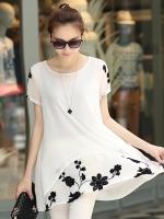 เสื้อแฟชั่นสีขาว ผ้ายืด แขนสั้น พิมพ์ลายดอกไม้ ใส่สบาย