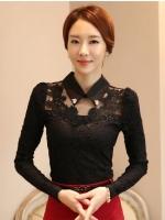 เสื้อทำงานผู้หญิงสีดำ แขนยาว คอปก รหัสสินค้า 13-1109-ดำ