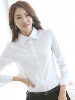 เสื้อเชิ้ตทำงานสีขาว แขนยาว คอปก ผ้าฝ้าย กระดุมหน้า